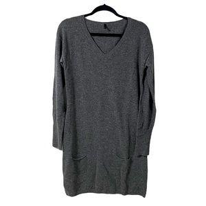 Benetton Grey Long Sleeve V-Neck Sweater Dress | L